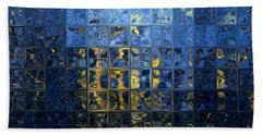Mediterranean Blue. Modern Mosaic Tile Art Painting Beach Sheet by Mark Lawrence
