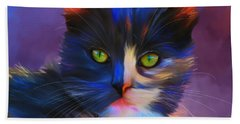 Meesha Colorful Cat Portrait Beach Sheet