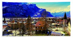 Meiringen Switzerland Alpine Village Beach Towel