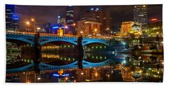 Beach Towel featuring the photograph Reflective City by Ray Warren