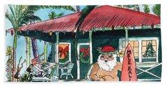 Mele Kalikimaka Hawaiian Santa Beach Sheet