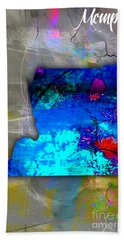 Memphis Map Watercolor Beach Towel by Marvin Blaine