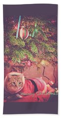 Meowy Christmas Beach Towel