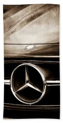 Mercedes-benz Grille Emblem Beach Sheet by Jill Reger
