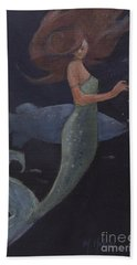 Mermaid And The Blue Fish Beach Towel