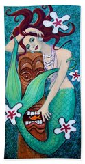 Mermaid's Tiki God Beach Towel