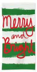 Merry And Bright- Greeting Card Beach Towel