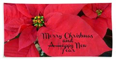 Christmas Poinsettia Beach Towel
