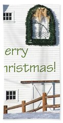 Merry Christmas Barn 1186 Beach Towel
