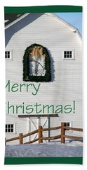 Merry Christmas Barn Green Border 1186 Beach Towel