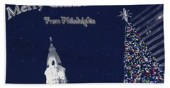 Beach Towel featuring the photograph Merry Christmas From Philly by Photographic Arts And Design Studio