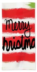 Merry Christmas- Greeting Card Beach Towel