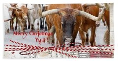 Beach Towel featuring the photograph Longhorns Merry Christmas Ya'll by Toni Hopper