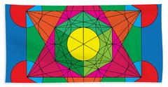 Metatron's Cube In Colors Beach Sheet