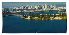 Miami City Biscayne Bay Skyline Beach Towel