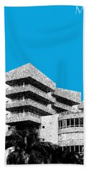 Miami Skyline Art Deco District - Ice Blue Beach Towel