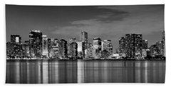 Miami Skyline At Dusk Black And White Bw Panorama Beach Sheet
