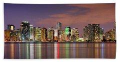 Miami Skyline At Dusk Sunset Panorama Beach Sheet