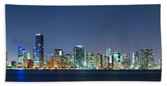 Beach Sheet featuring the photograph Miami Skyline At Night by Carsten Reisinger