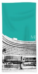 Miami Skyline Fontainebleau Hotel - Teal Beach Towel