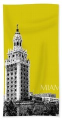 Miami Skyline Freedom Tower - Mustard Beach Towel