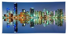 Beach Sheet featuring the photograph Miami Skyline Panorama by Carsten Reisinger