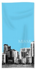Miami Skyline - Sky Blue Beach Towel