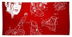 Michael Jackson Anti-gravity Shoe Patent Artwork Red Beach Sheet by Nikki Marie Smith