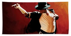Michael Jackson Artwork 4 Beach Towel by Sheraz A