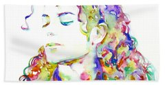 Michael Jackson - Watercolor Portrait.6 Beach Sheet by Fabrizio Cassetta