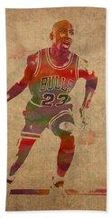 Michael Jordan Chicago Bulls Vintage Basketball Player Watercolor Portrait On Worn Distressed Canvas Beach Towel
