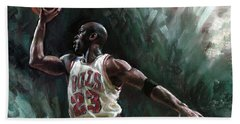 Michael Jordan Beach Towel by Ylli Haruni