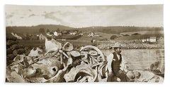 Michael Noon Sitting On A  Pile Of Whale Bones Monterey Wharf  Circa 1896 Beach Towel