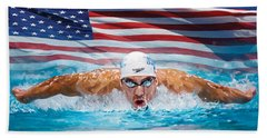 Michael Phelps Artwork Beach Towel by Sheraz A
