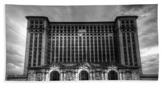 Michigan Central Station Bw Beach Towel