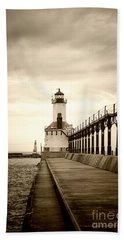 Michigan City Lighthouse Beach Towel