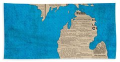 Michigan Map Made Of Vintage Newspaper Clippings On Blue Canvas Beach Towel