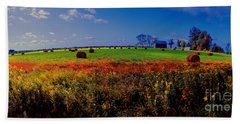 Michigan Uper  Farm Barn And Rolls Of Hay Brimly Michigan Beach Towel