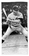 Mickey Mantle At Bat Beach Towel by Underwood Archives