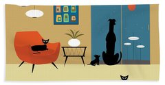 Mid Century Dogs And Cats Beach Sheet
