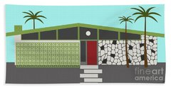 Mid Century Modern House 4 Beach Sheet