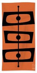 Mid Century Shapes On Orange Beach Towel