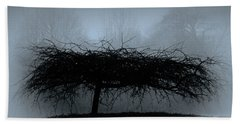 Middlethorpe Tree In Fog Blue Beach Towel by Tony Grider