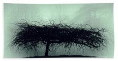 Middlethorpe Tree In Fog Gray And Green Beach Towel