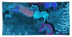 Midnight Horses Beach Towel
