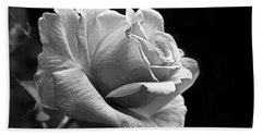 Midnight Rose In Black And White Beach Towel