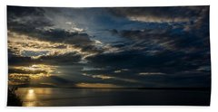 Midnight Sun Over Cook Inlet Beach Sheet by Andrew Matwijec