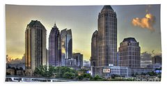 Midtown Atlanta Sunrise Beach Towel by Reid Callaway