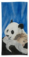 Mika And Panda Beach Towel