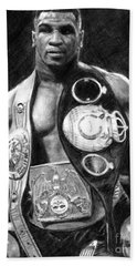 Mike Tyson Pencil Drawing Beach Towel